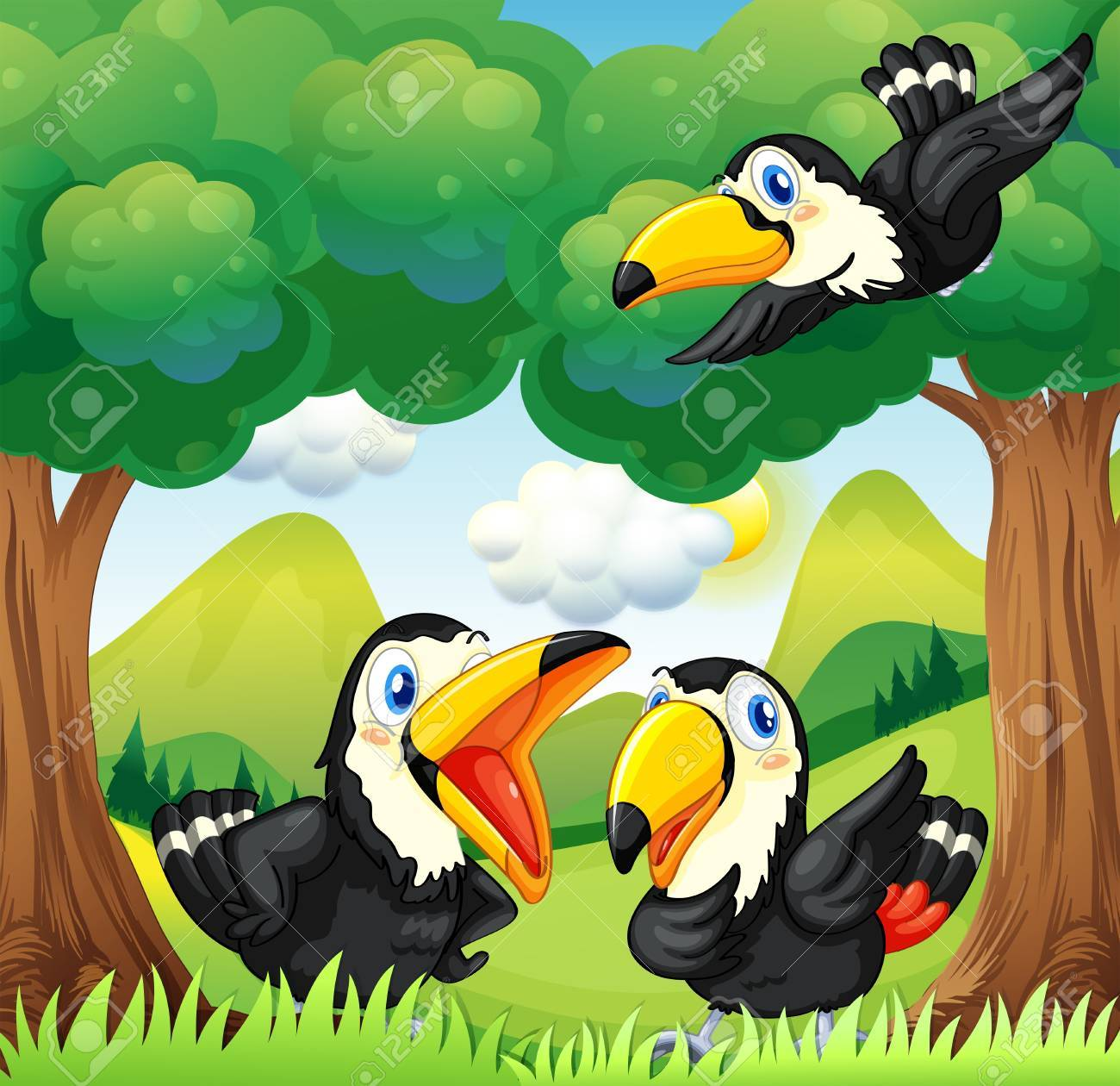 Illustration of the three black birds at the forest Stock Vector - 21095210