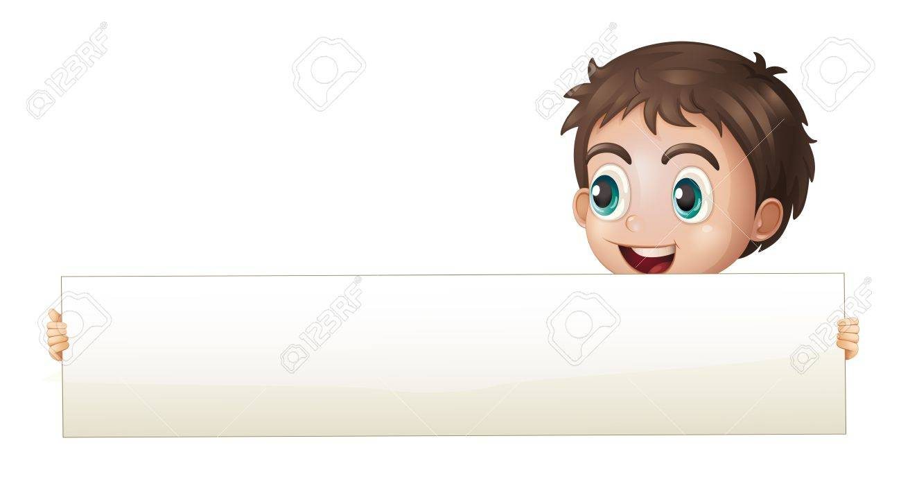 Illustration of a boy holding a wide empty board on a white background Stock Vector - 21234172