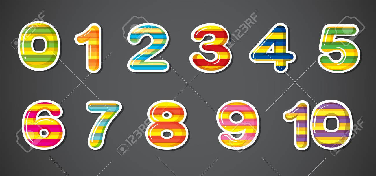 Illustration of the colorful numbers on a gray background Stock Vector - 21234452