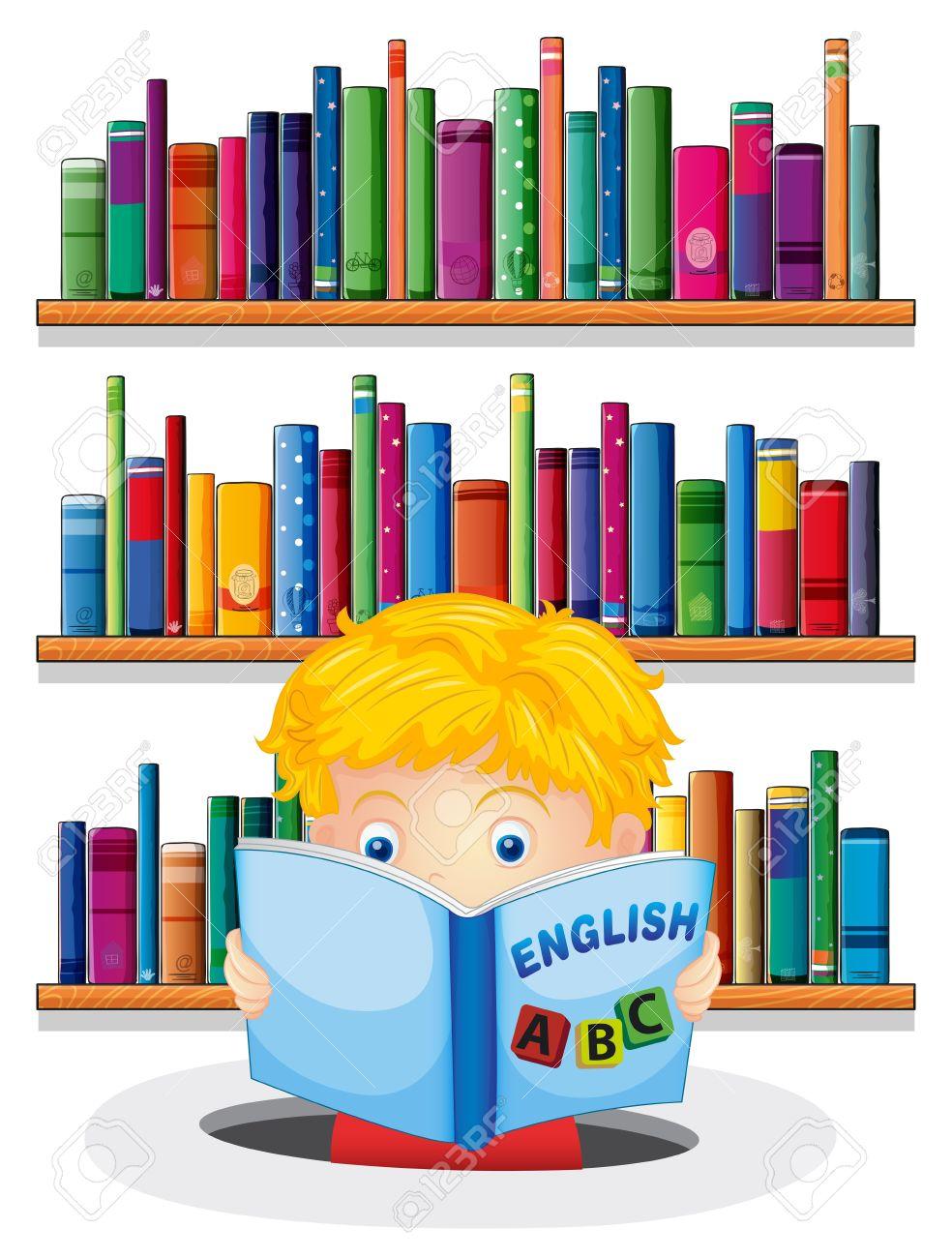 illustration eines jungen in der bibliothek liest ein englisches