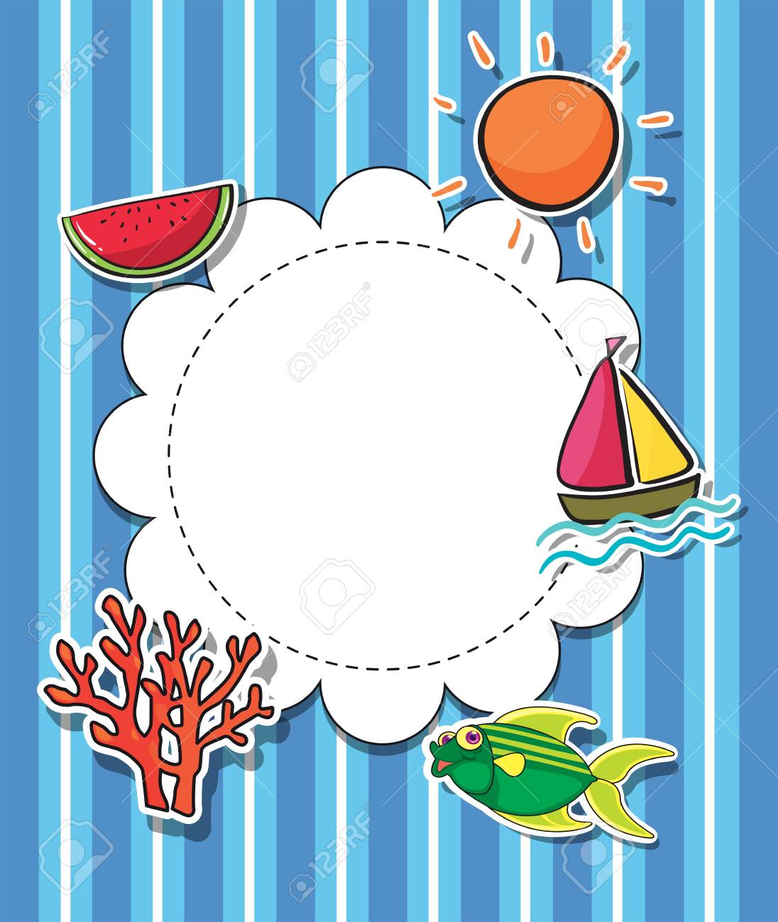 Illustration of a round template with a sun Stock Vector - 21234590