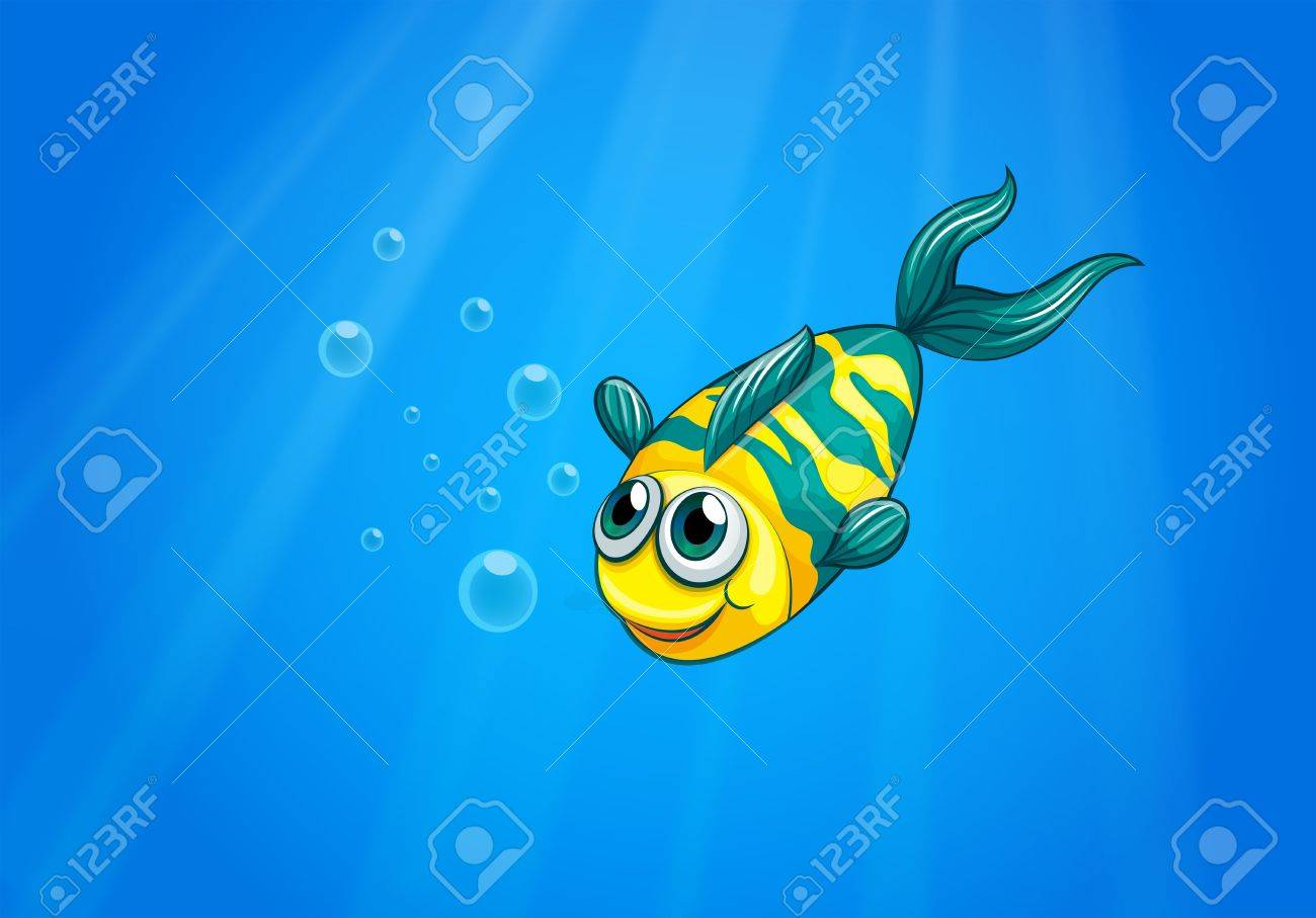 Illustration of a fish swimming in the sea Stock Vector - 21235063