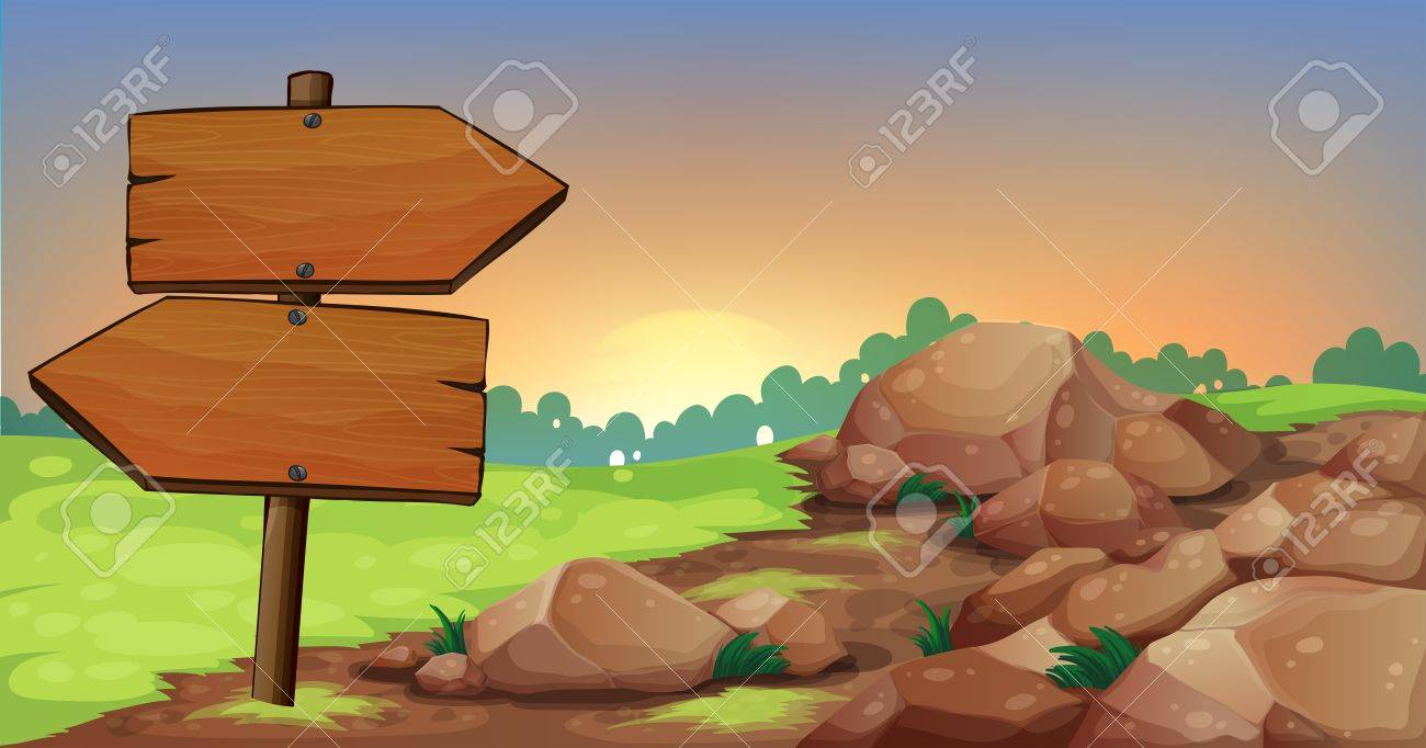 Illustration of the arrowboards near the group of rocks Stock Vector - 21235120