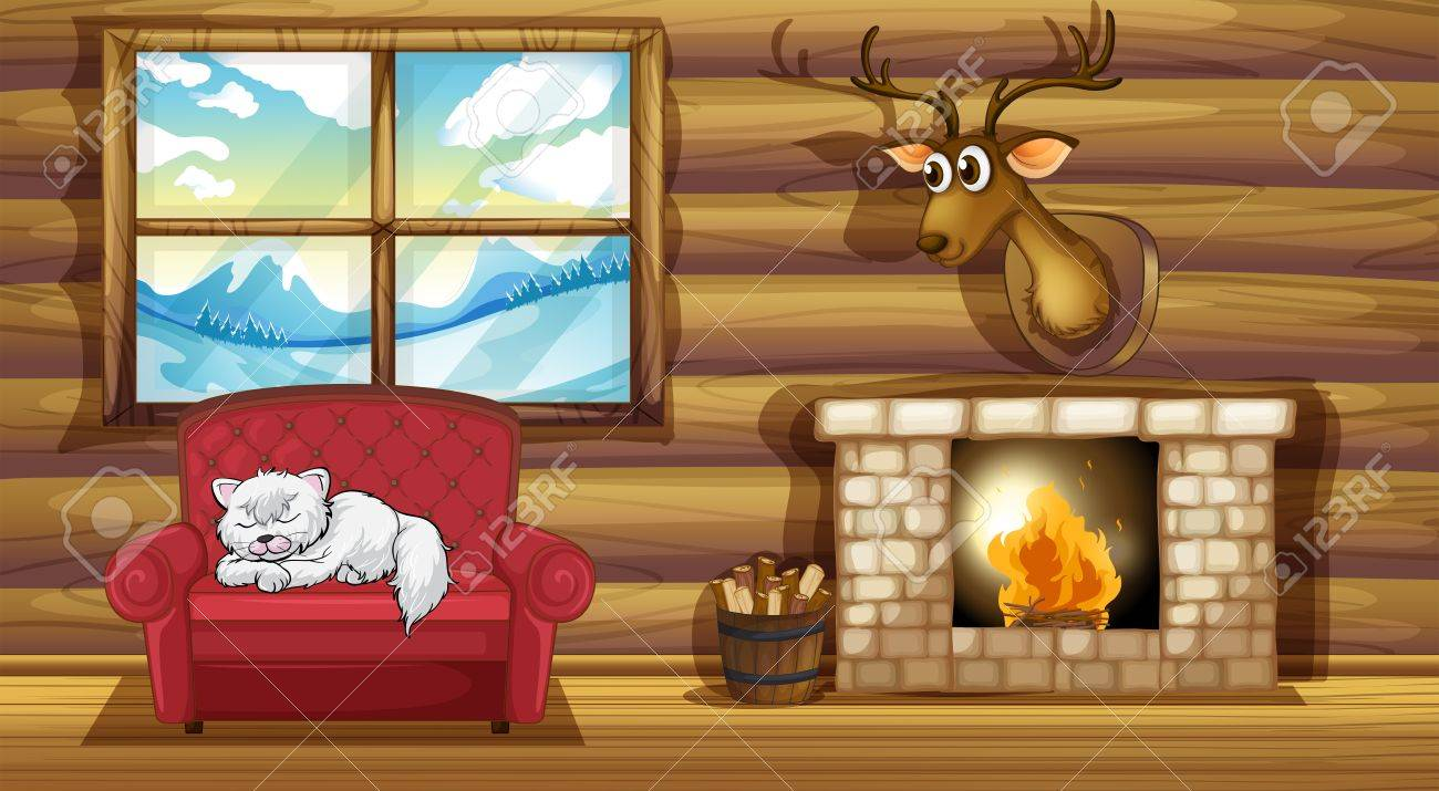 illustration of a cat sleeping above the chair near the fireplace