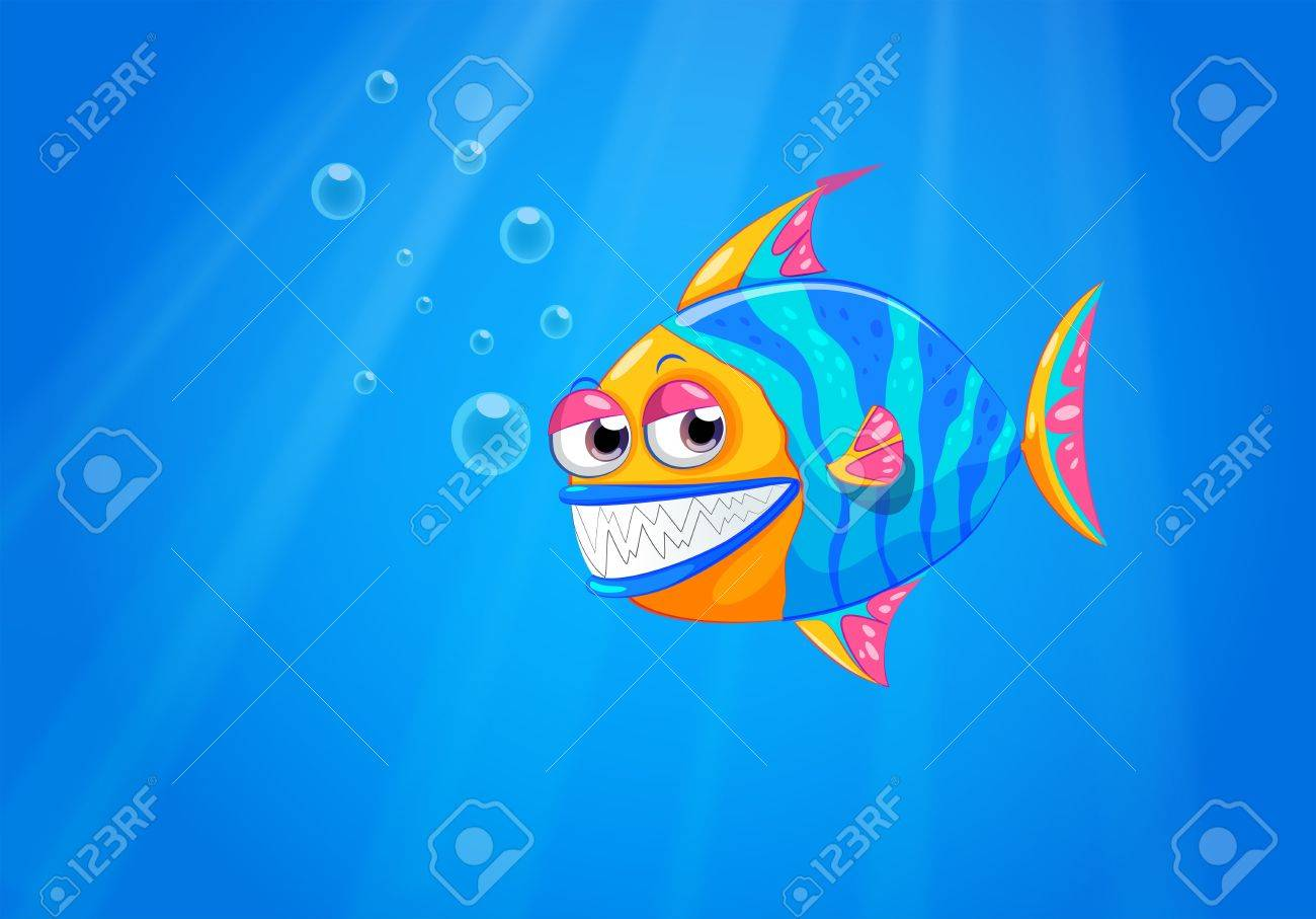 Illustration of a big smiling fish in the ocean Stock Vector - 21425791