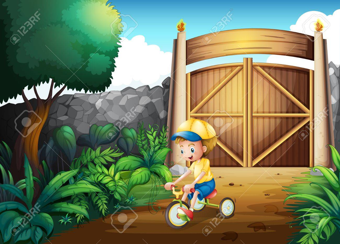 Illustration of a small child playing inside the gate Stock Vector - 21426815