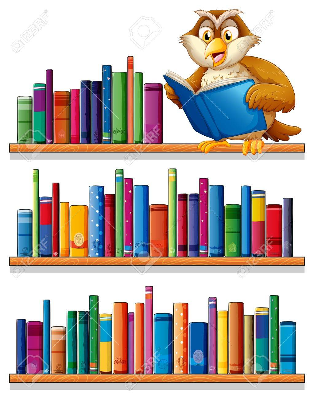 Bücherregal clipart  Illustration Einer Eule über Den Hölzernen Bücherregalen Mit Bücher ...