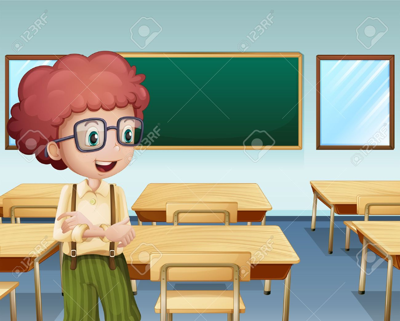 Empty cartoon classroom background - Empty Cartoon Classroom Background