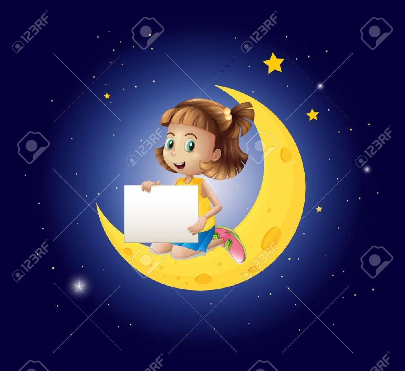 空の看板で月面上の女の子のイラストのイラスト素材ベクタ Image