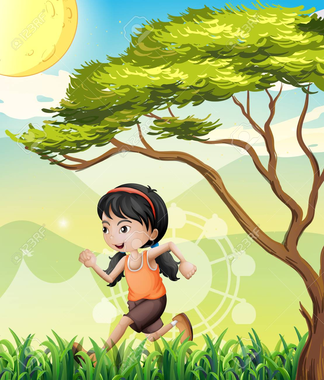 Illustration of a girl running at the field Stock Vector - 21427016