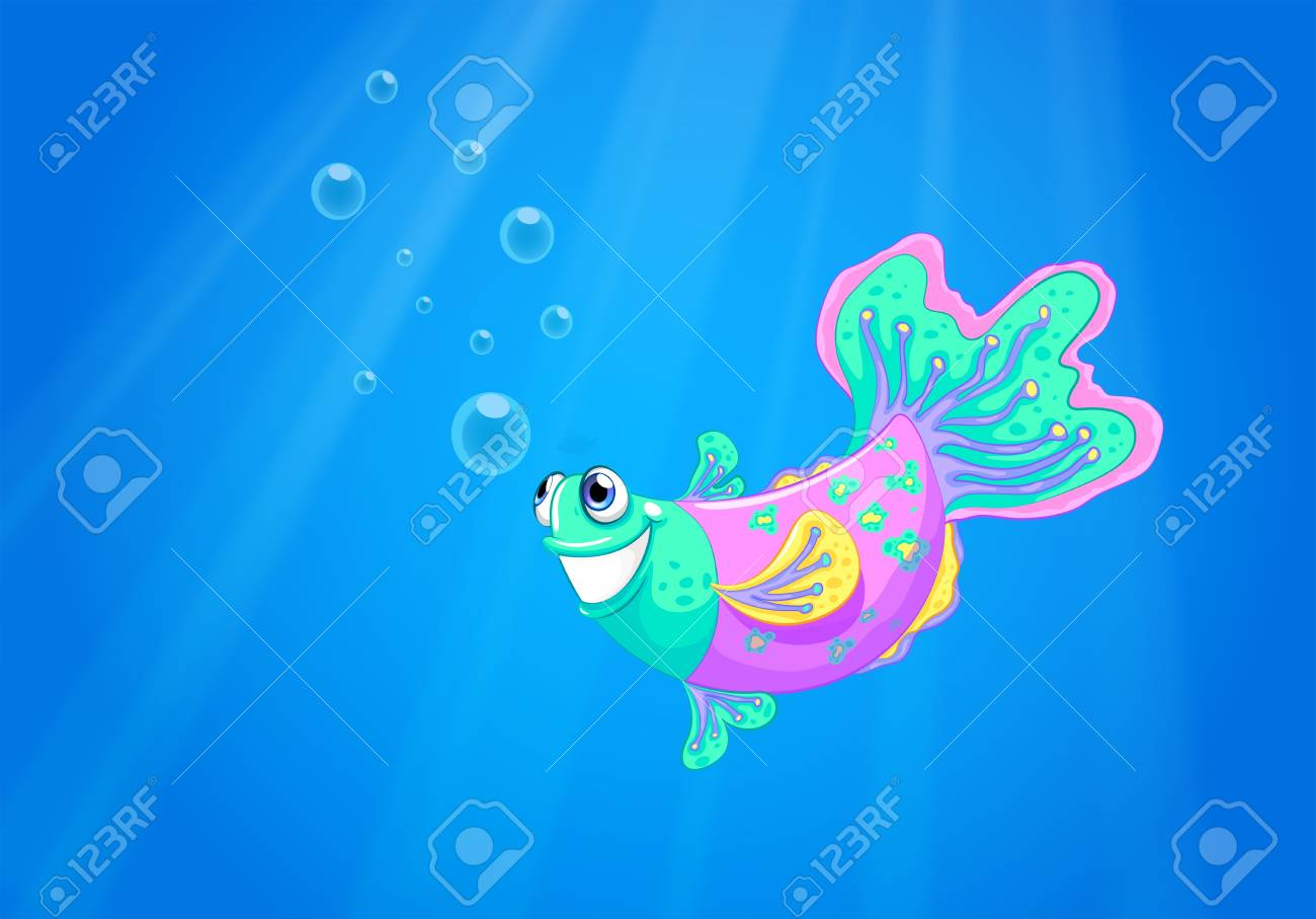 Illustration of a smiling pink fish in the ocean Stock Vector - 21427040