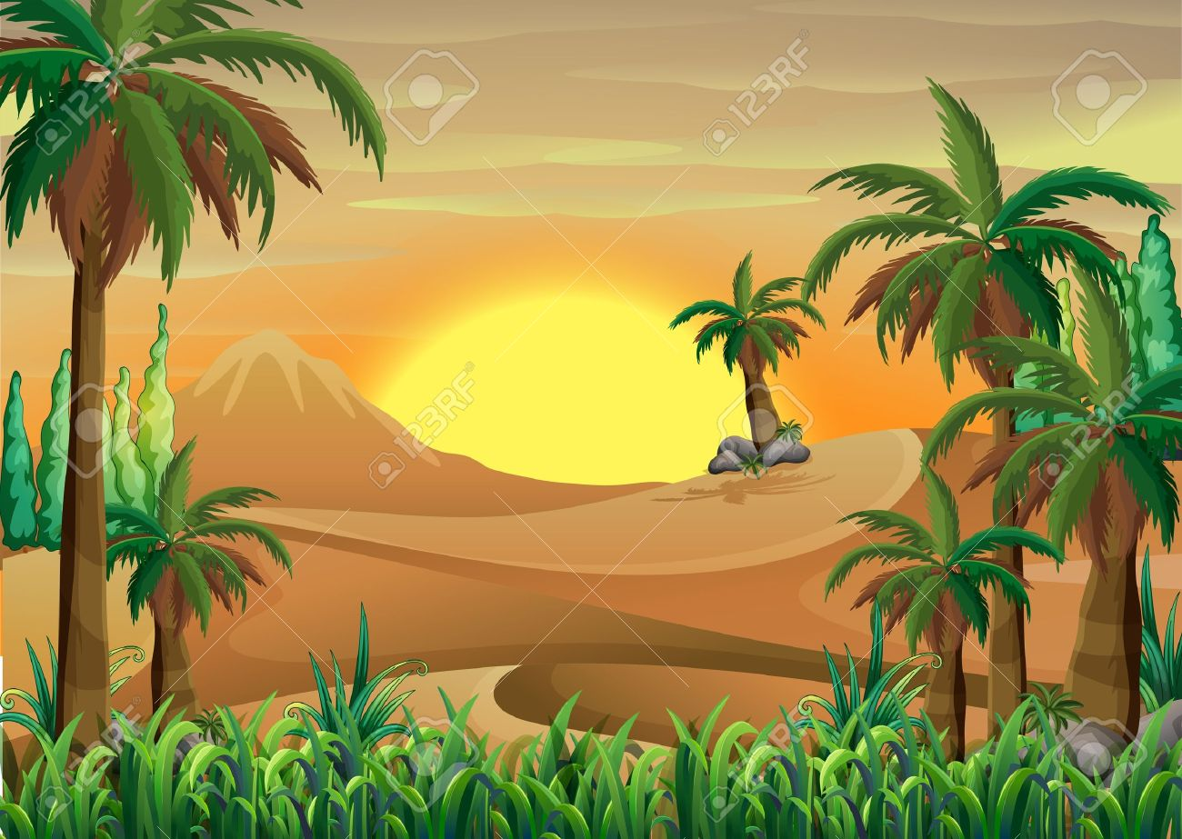 Illustration of a forest at the desert Stock Vector - 21658731
