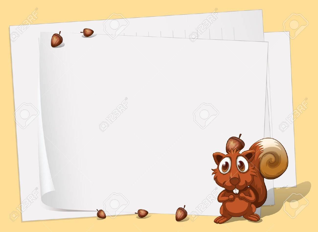 Illustration of a squirrel in front of the empty papers Stock Vector - 21658787