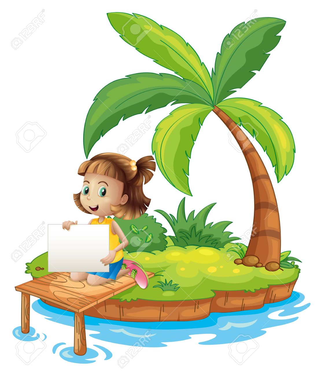 Illustration of a girl at the island with an empty signage on a white background Stock Vector - 21658805
