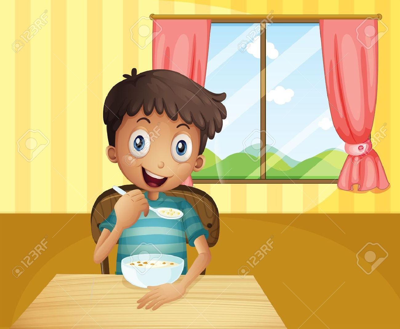 Illustration Of A Boy Eating Cereals Inside The House Royalty Free ...