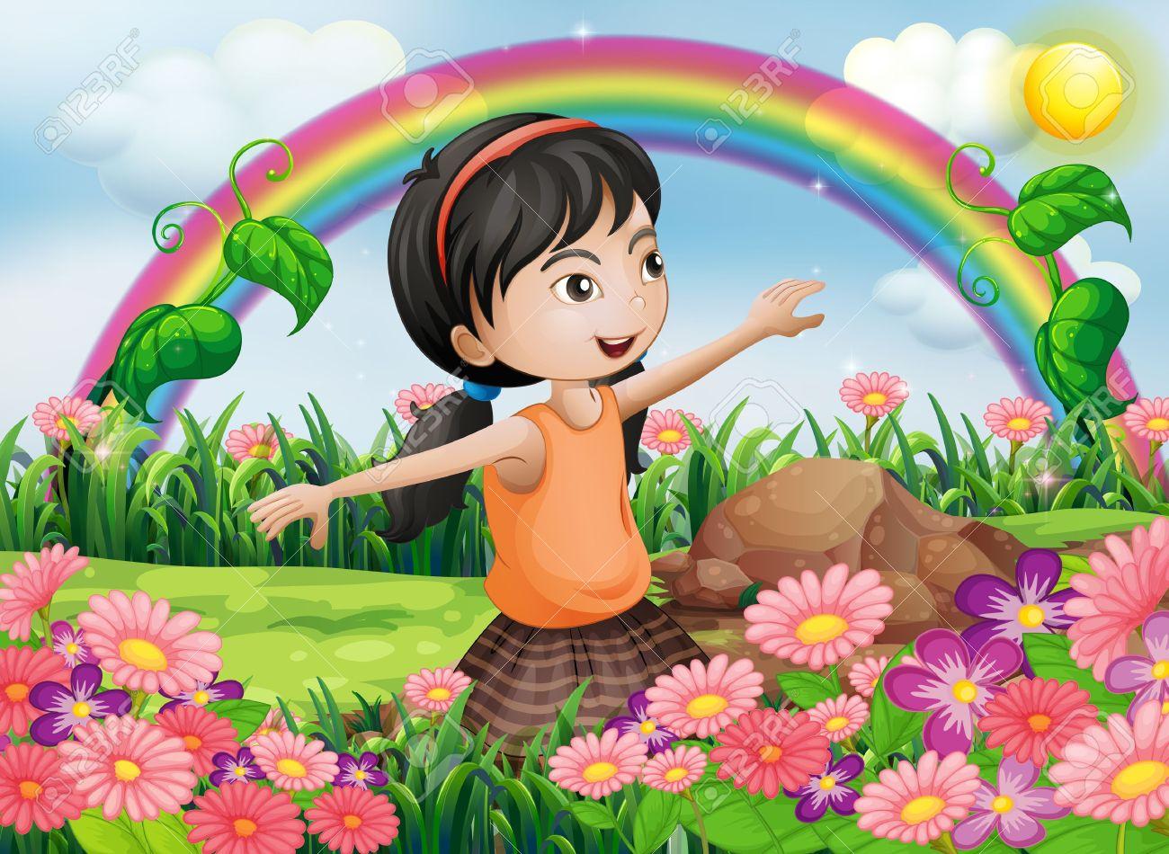 Flower garden cartoon - Garden Cartoon Illustration Of A Happy Girl At The Garden With Fresh Blooming Flowers