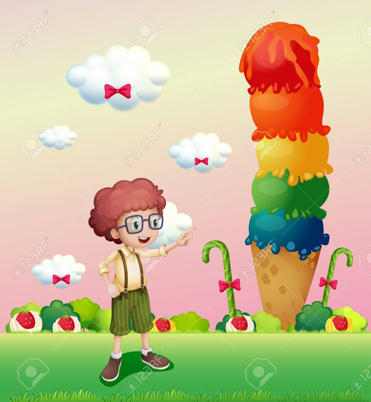 Illustration of a young gentleman standing near the giant icecream Stock Vector - 21658912