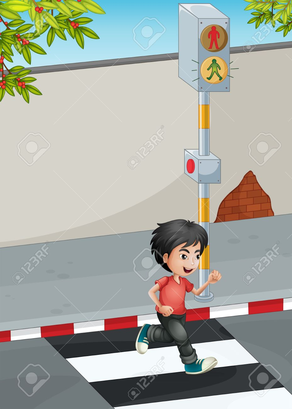 Illustration of a boy running while crossing the street Stock Vector - 21658923