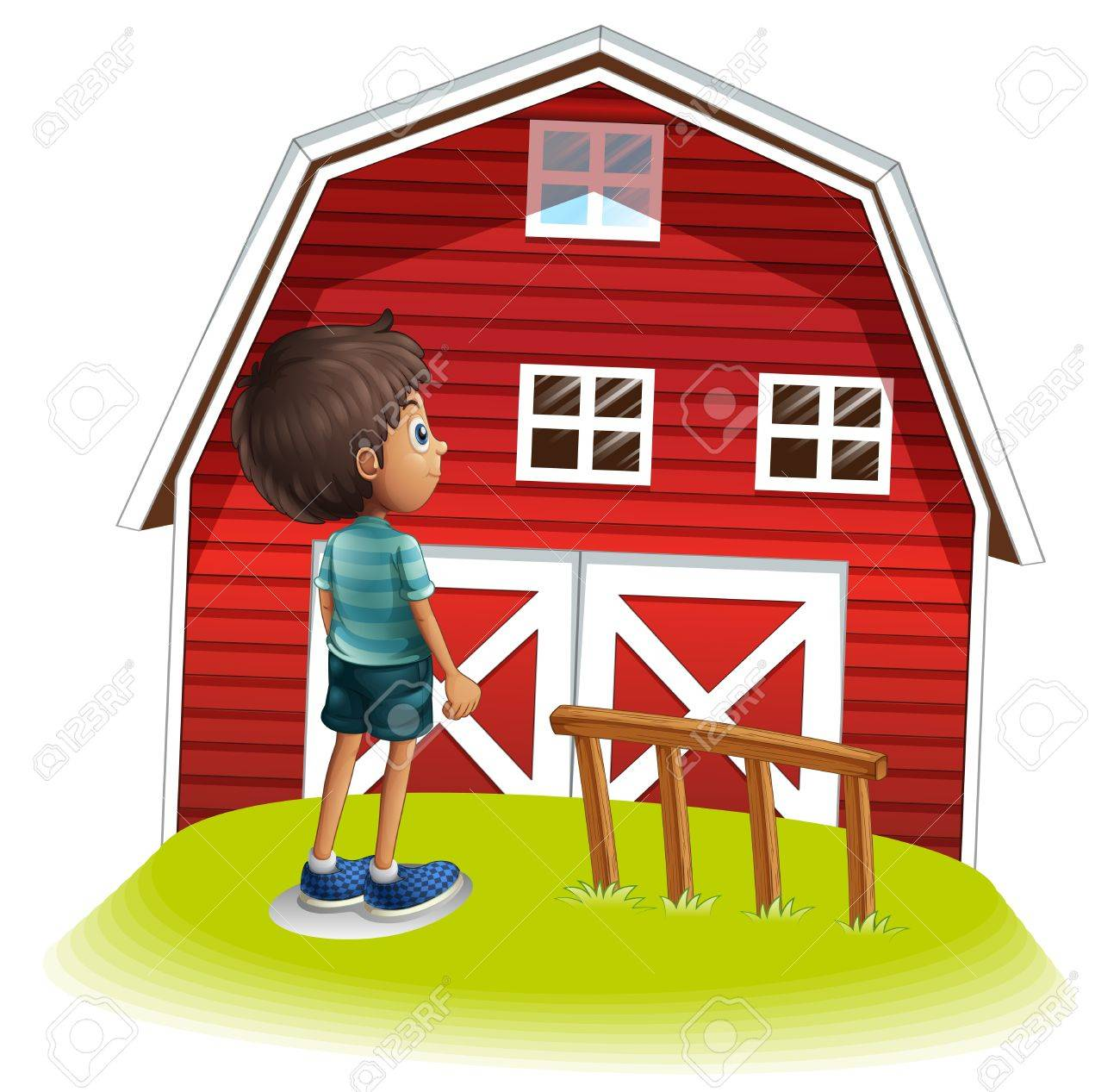 Illustration Of A Boy Standing In Front The Red Farmhouse On White Background Stock