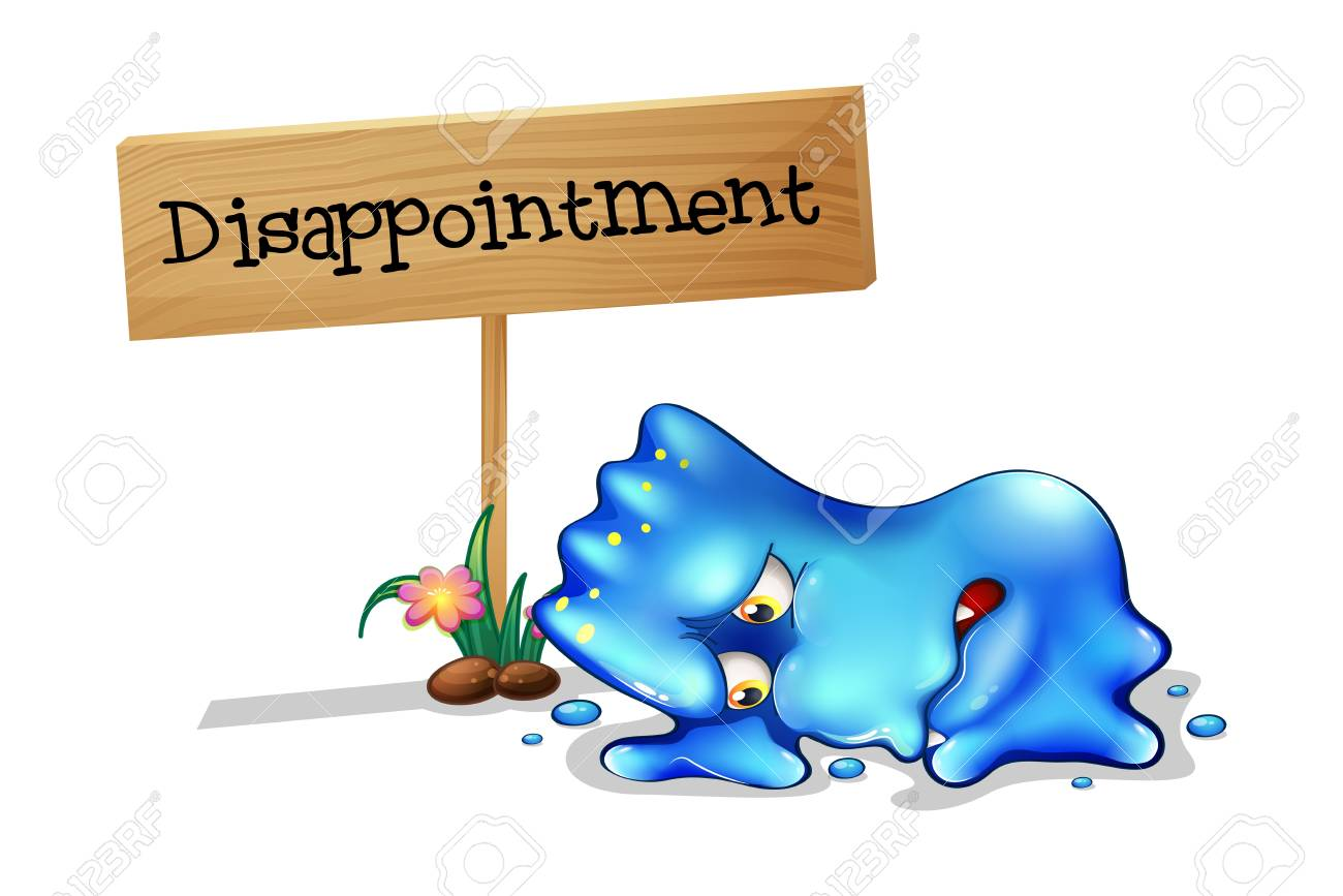 Illustration of a disappointed monster in front of a wooden signage on a white background Stock Vector - 22065447