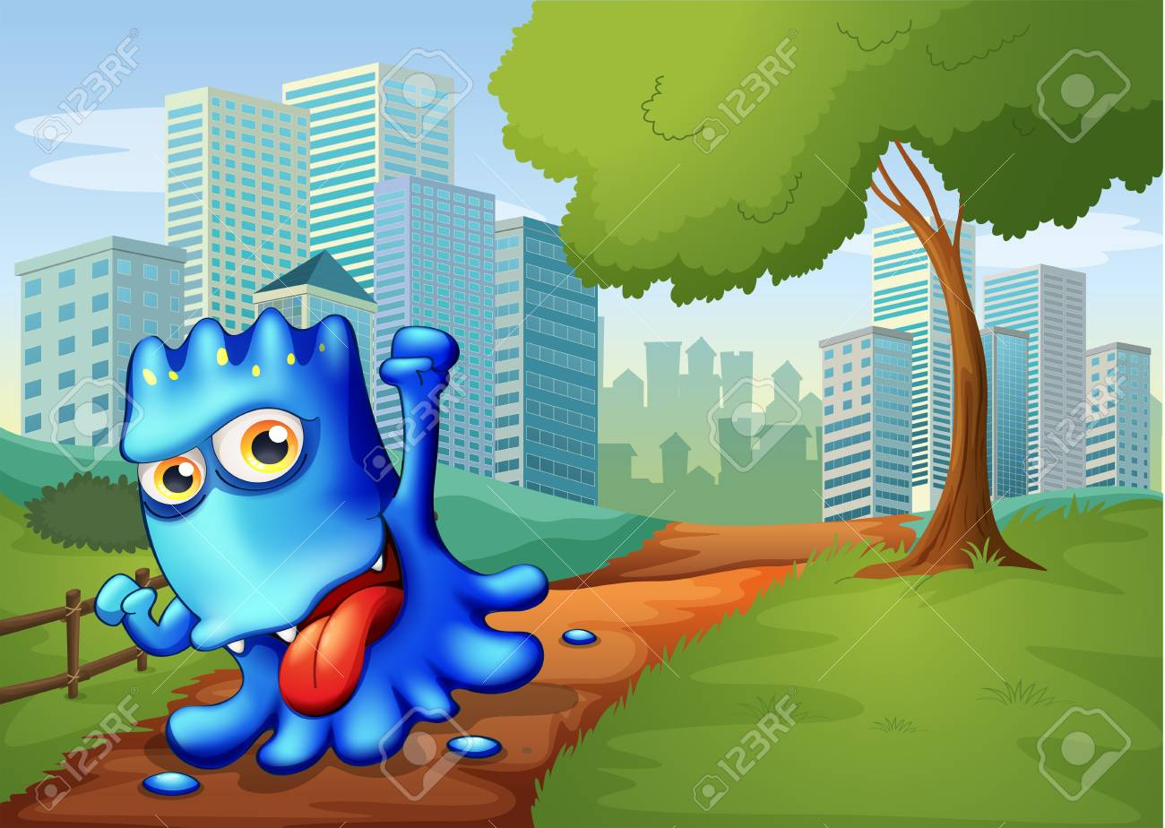 Illustration of a blue monster in the city Stock Vector - 22065456