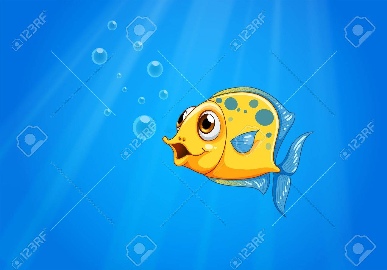 Illustration of a deep ocean with a yellow fish Stock Vector - 22065516