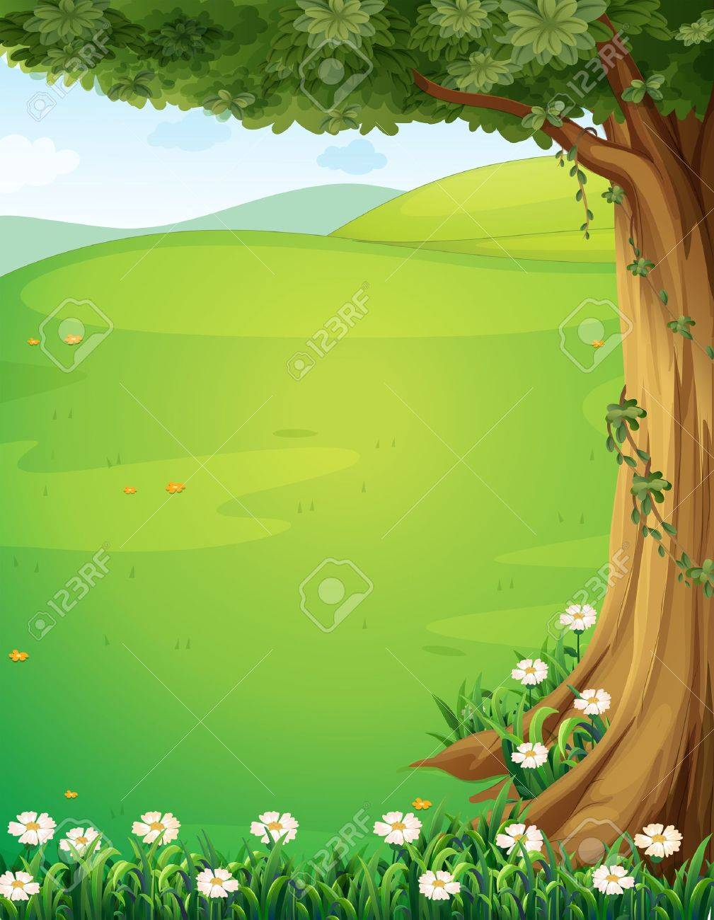 Illustration of a view of the hills with a tree and flowers - 22065634