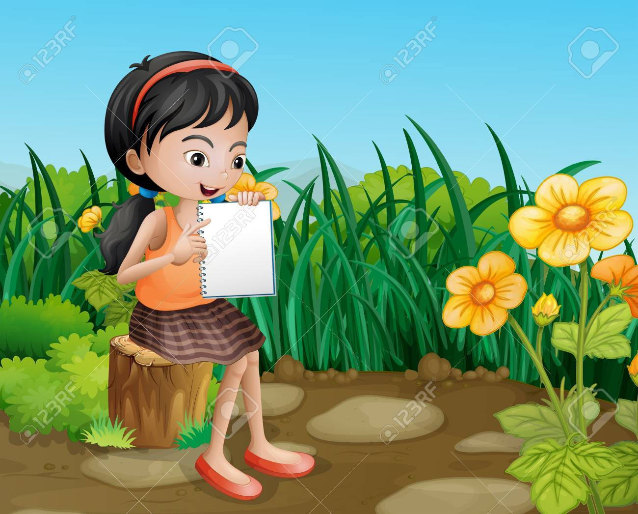 Illustration of a girl studying at the garden Stock Vector - 22065656