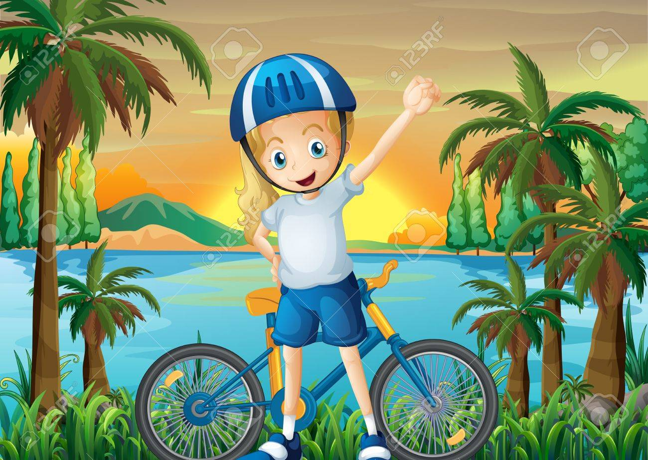 Illustration of a happy girl and her bike at the riverbank Stock Vector - 22065697