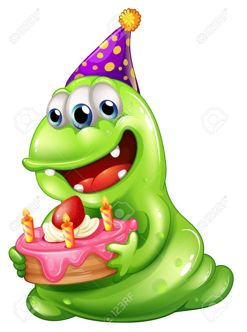 Illustration of a greenslime monster celebrating a birthday on a white background Stock Vector - 22065714
