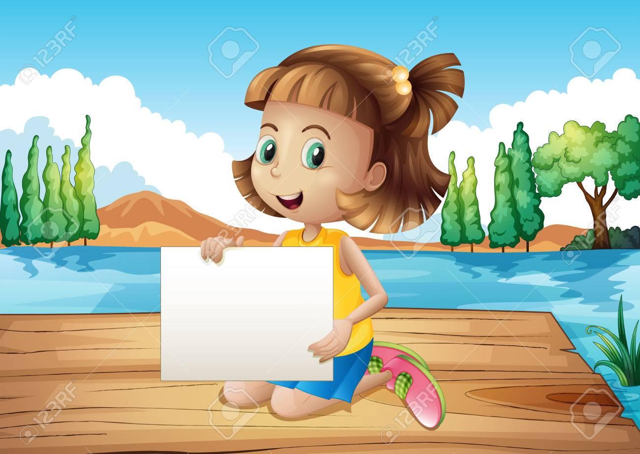 空の看板と港で女の子のイラストのイラスト素材ベクタ Image 22210634