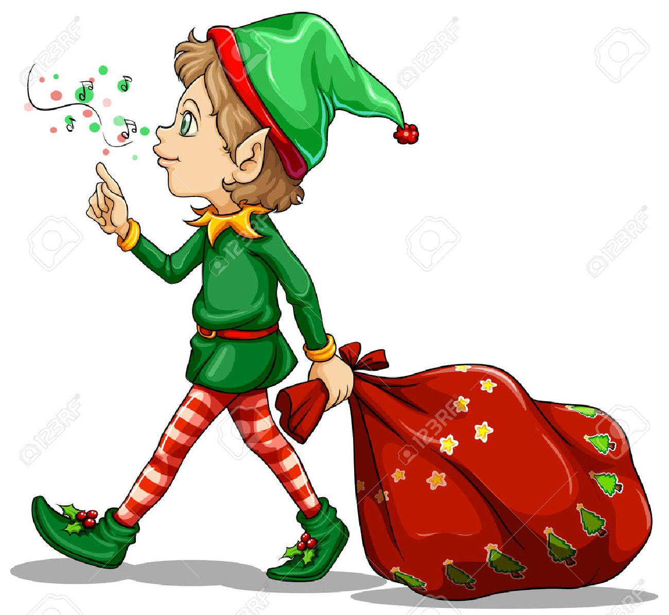illustration of a young elf dragging a sack of gifts on a white