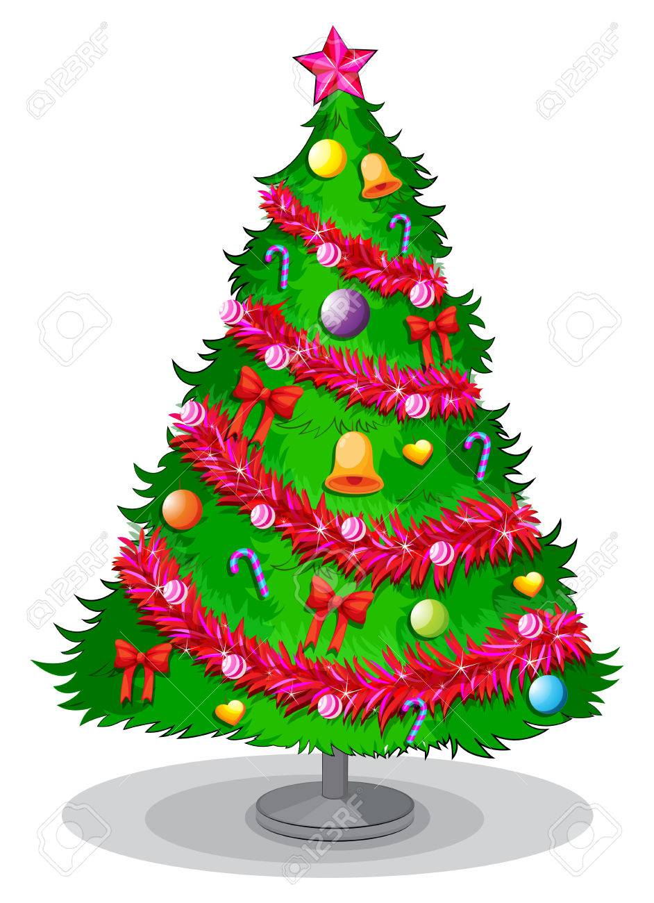 Illustration Of A Colorful Christmas Tree On A White Background ...