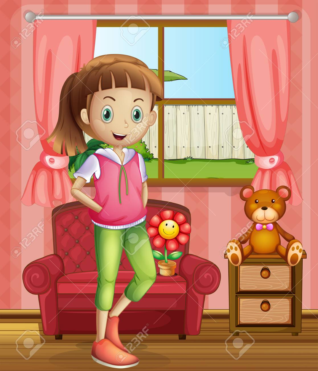 Illustration of a cute young girl inside the house Stock Vector - 22210965