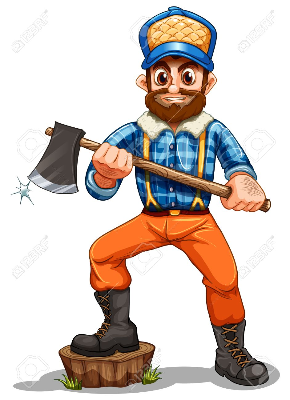 Illustration of a lumberjack stepping on a stump on a white background Stock Vector - 22210969