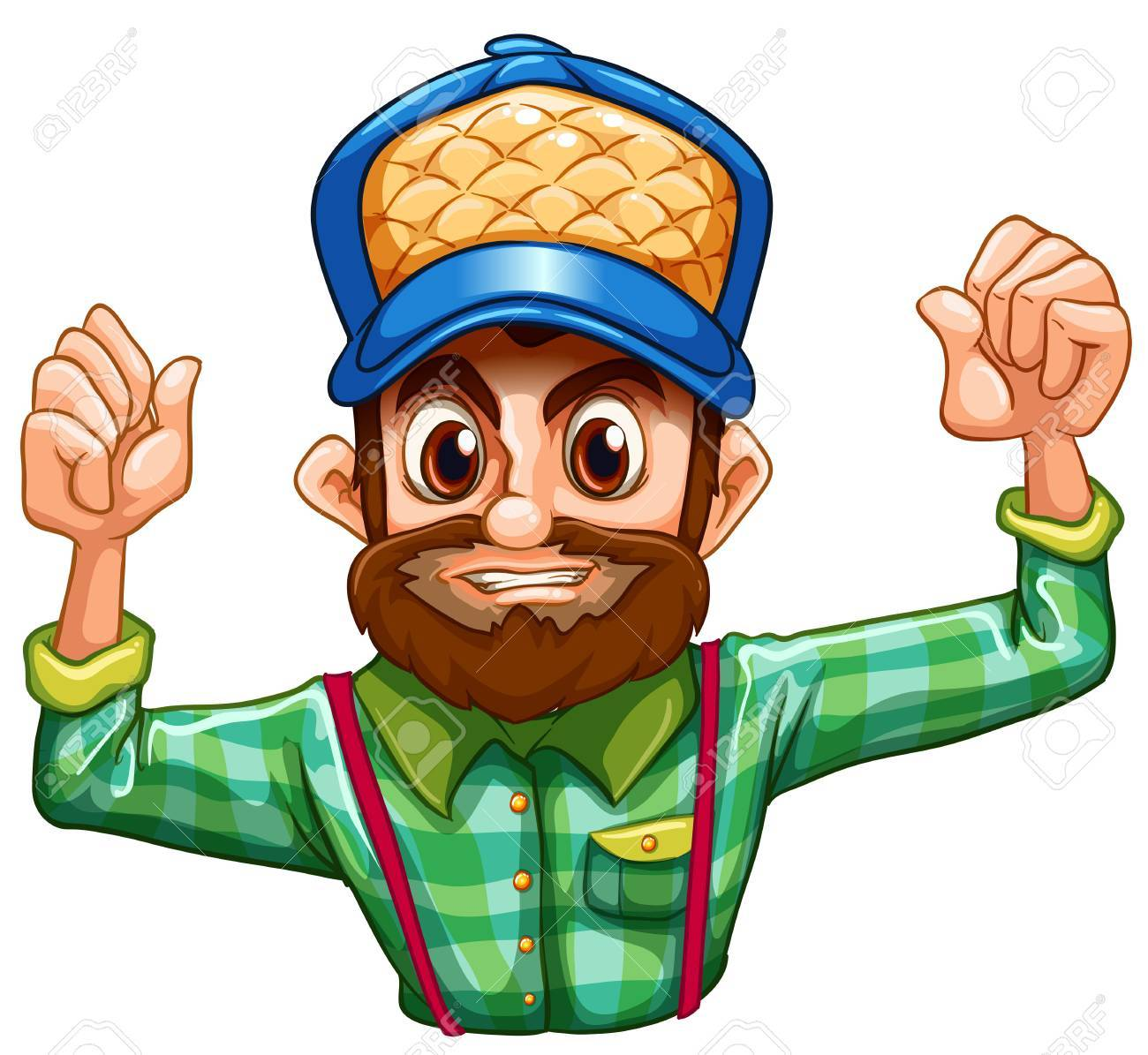 Illustration of a lumberjack wearing a checkered longsleeve on a white background Stock Vector - 22210986