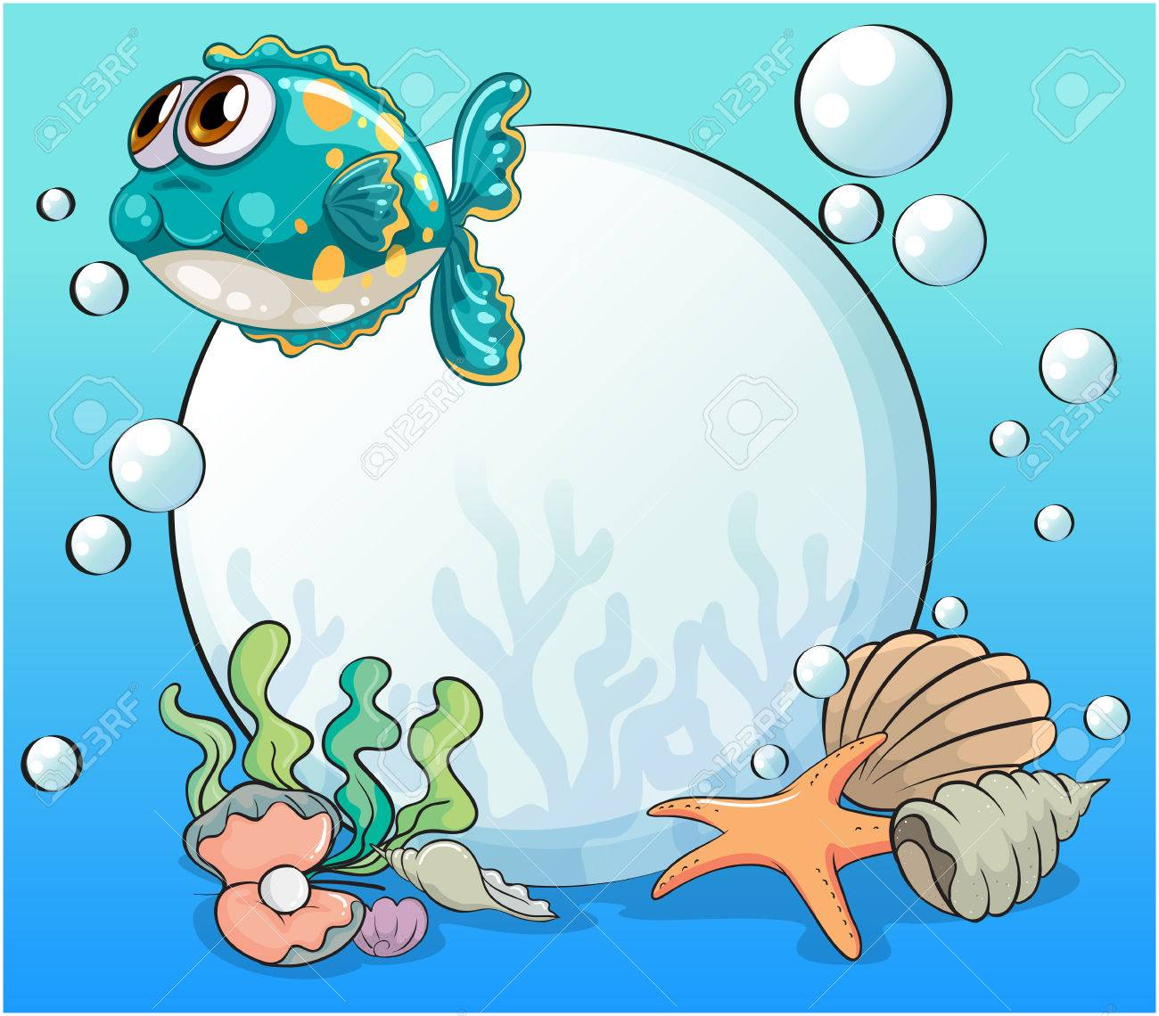 illustration of the sea creatures under the sea royalty free