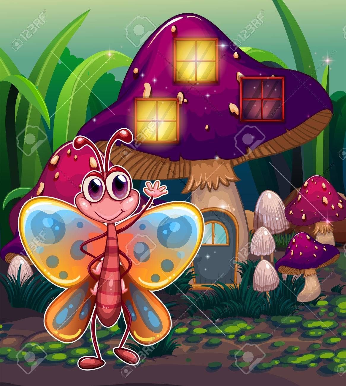Illustration of a butterfly in front of the mushroom house Stock Vector - 22404760