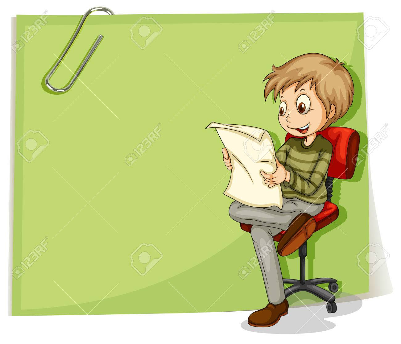 Illustration of a boy reading in front of a big paper with a clip on a white background Stock Vector - 22404849