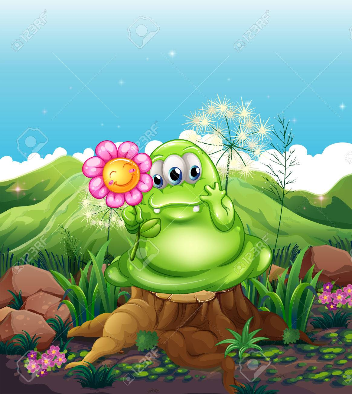 Illustration of a monster with a flower standing above the stump Stock Vector - 22405268