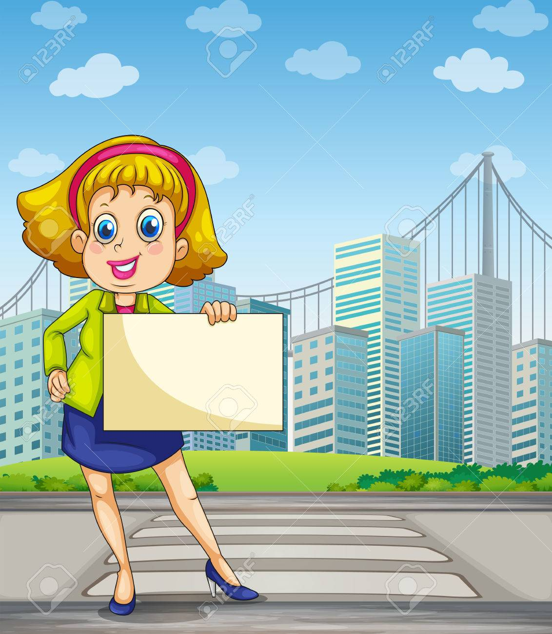 Illustration of a woman at the pedestrian lane holding an empty signage Stock Vector - 22405281