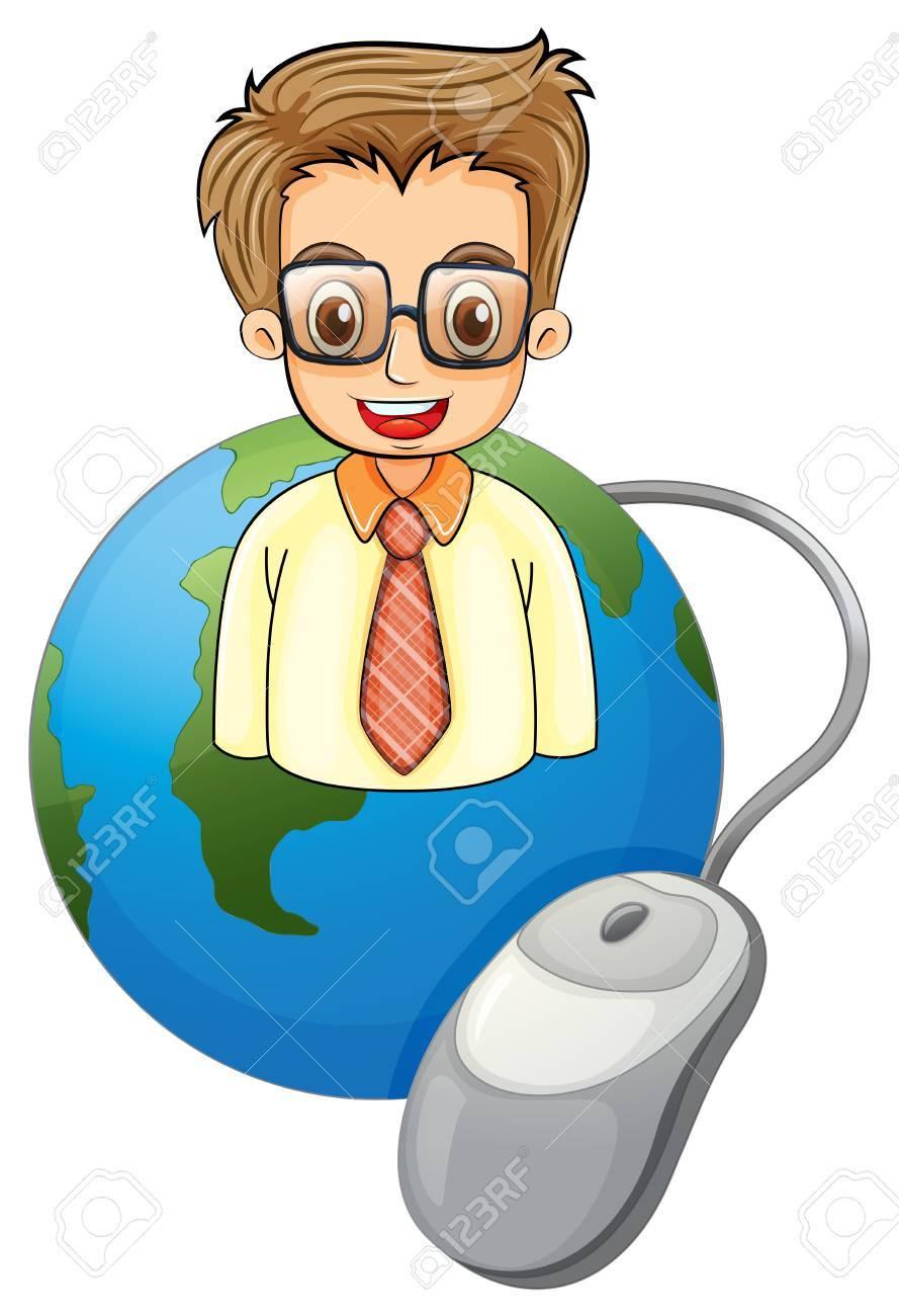 Illustration Eines Lächelnden Jungen Geschäftsmann über Den Globus ...