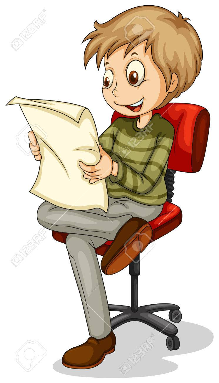 Illustration of a young man reading a newspaper on a white background Stock Vector - 22576056