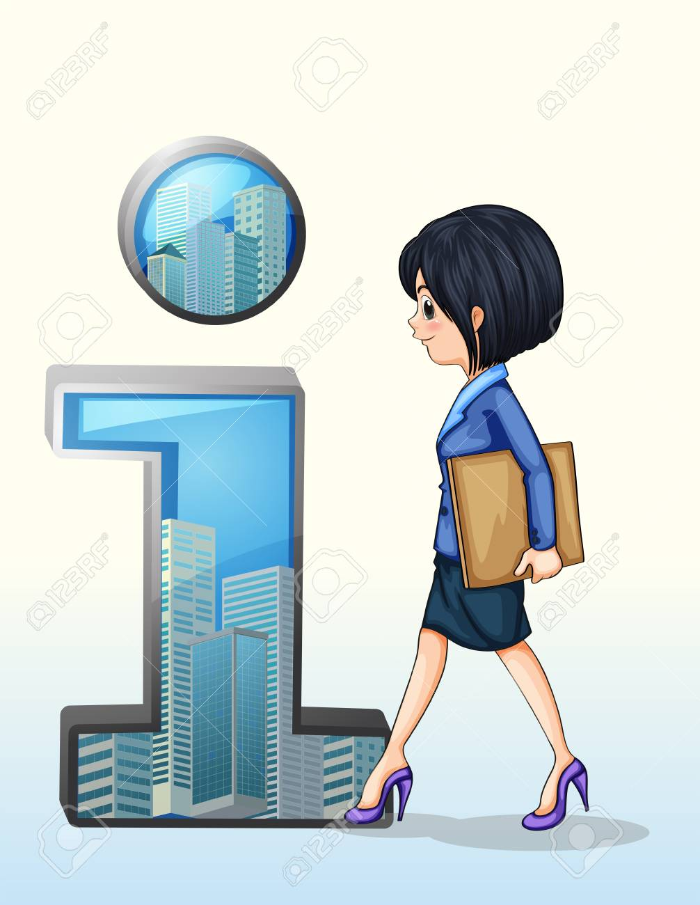 Illustration of a lady walking towards the number one symbol on a white background Stock Vector - 22576004