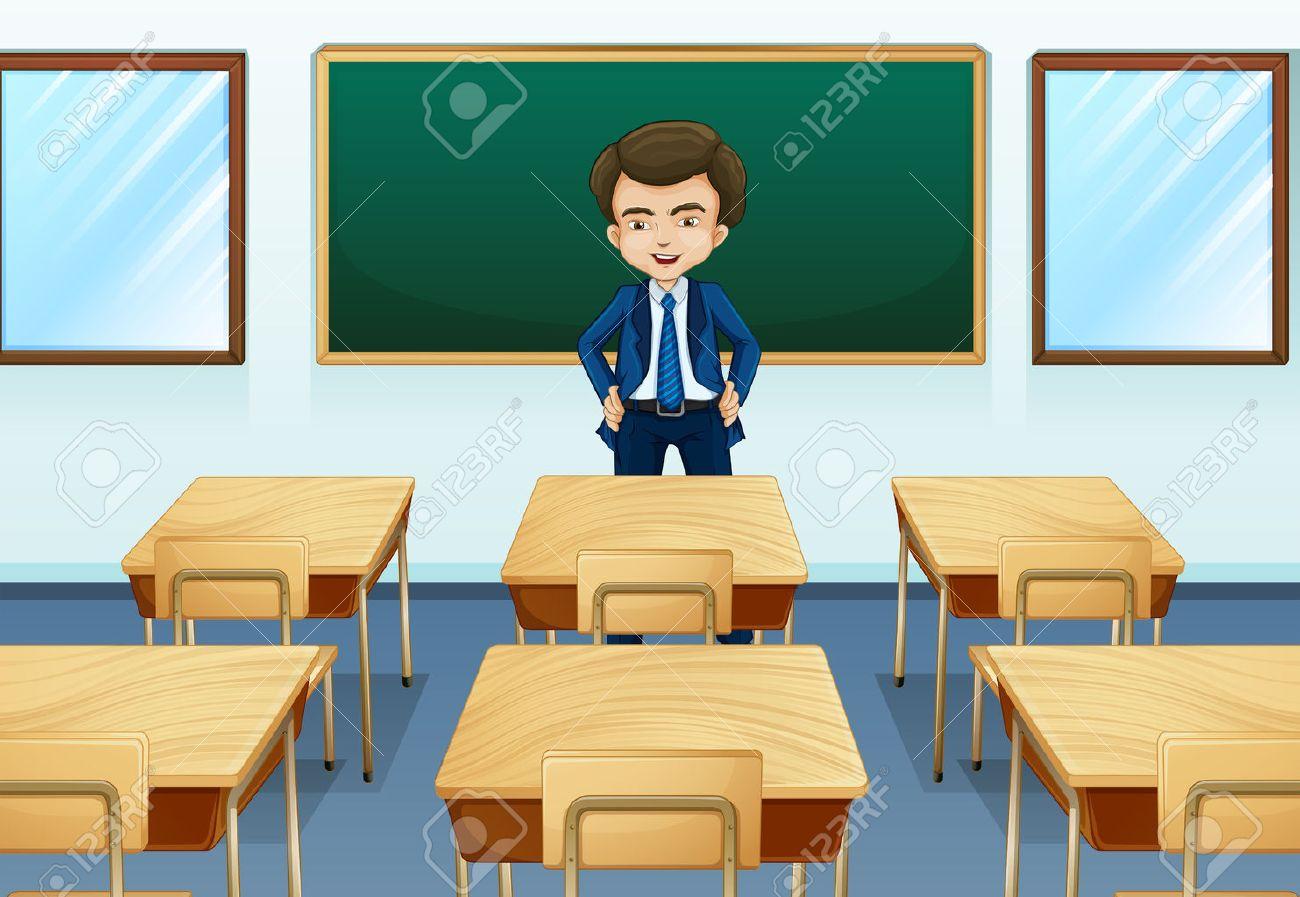 Illustration of a teacher inside the room Stock Vector - 22575881
