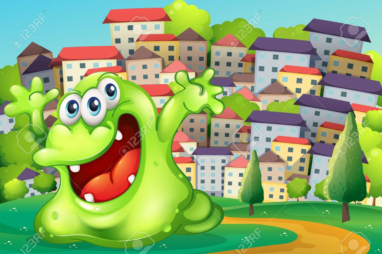 Illustration of a monster shouting for joy at the hilltop across the tall buildings Stock Vector - 22575816