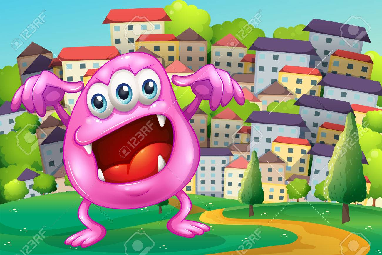 Illustration of a beanie monster shouting at the hilltop across the buildings Stock Vector - 22575801