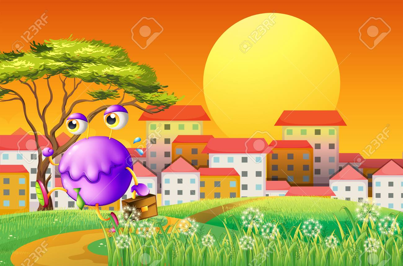 Illustration of a monster travelling at the hill with a bag Stock Vector - 22834443