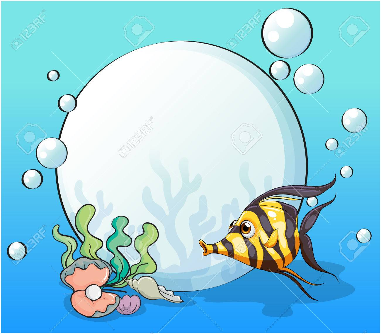 Animated Pictures Of Seashells illustration of an ocean with a fish and seashells