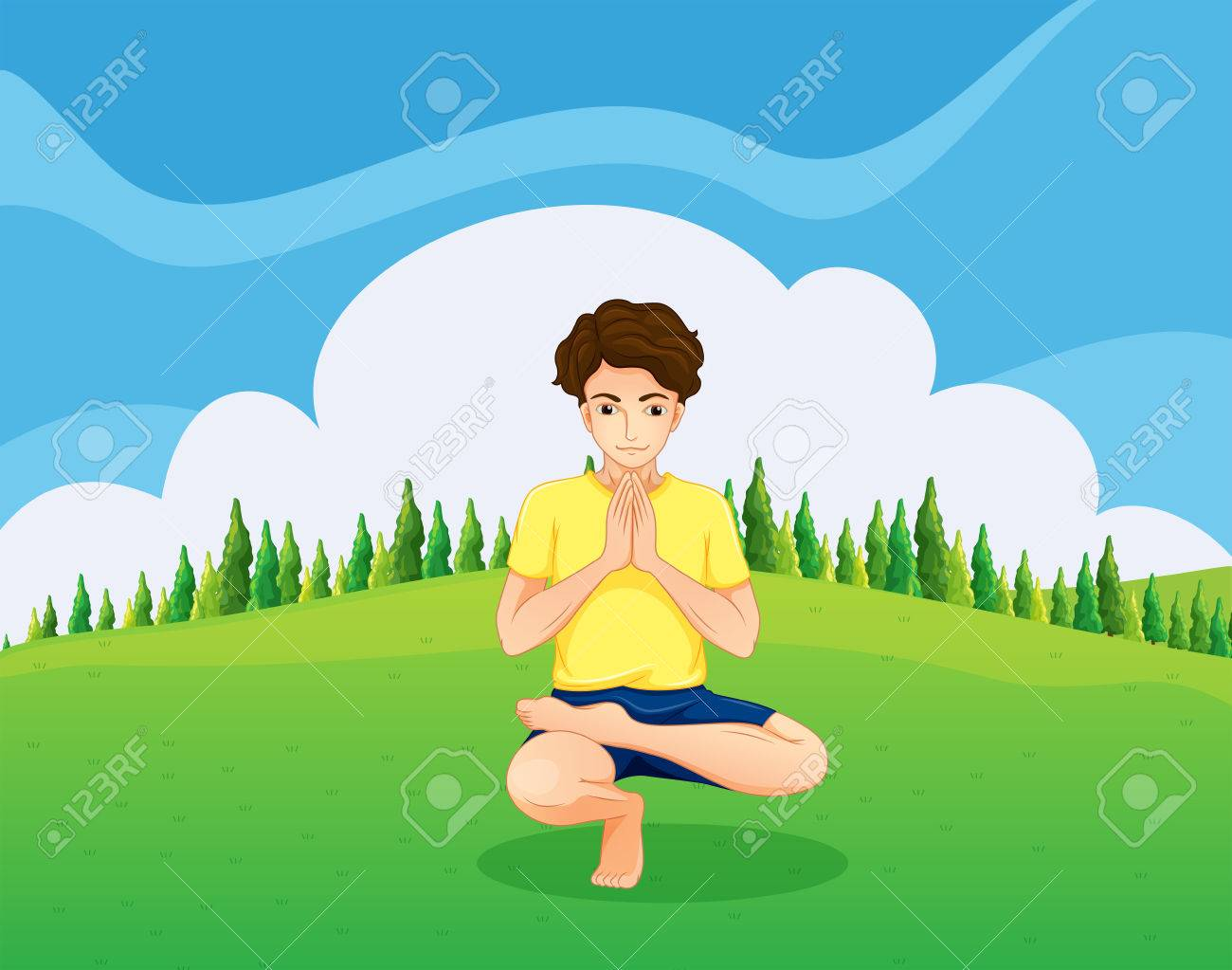 Illustration of a handsome young boy doing yoga in the hill Stock Vector - 22894523
